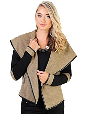Chaqueta Mujer Solapas Blazer Abierto Punto Diseño Abrigo Elegante Nueva Temporada