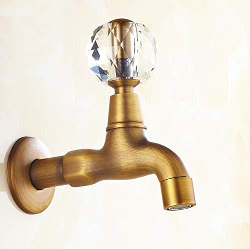 [复制]-Antique Brass Crystal Handle Extended Mop Pool Taps Wall Mount Single Lever Cold Water Sink Faucet