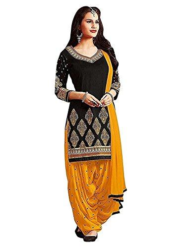 Outrush Women\'s Faux Cotton Dress Material Salwar Suits Patiala Multi Coloured Free Size
