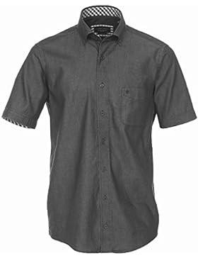 CASAMODA Casual Fit Hemd Halbarm Button Down Kragen Jeans schwarz
