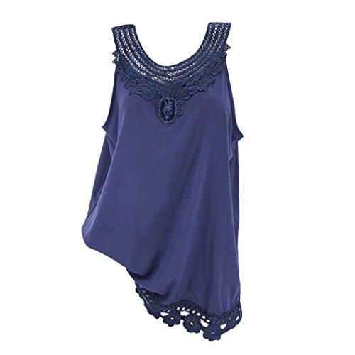 TUDUZ Damen Spitze Patchwork Weste Camis Armellose Bluse Crop Top Tank Tops Basic T-Shirt(XXL,B-Marine)