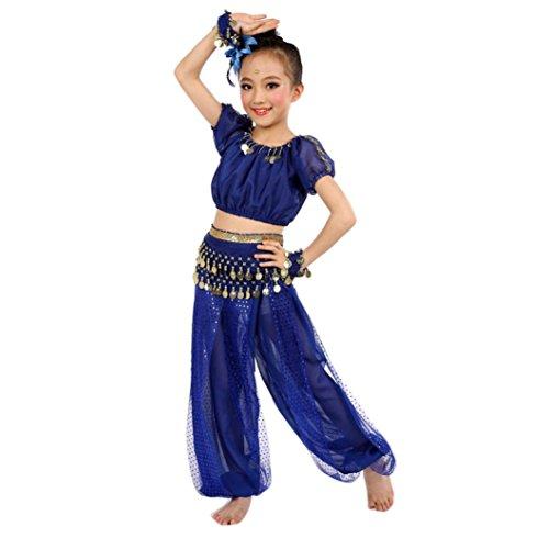 Bekleidung Longra Kinder Mädchen Tanzkostüme Bauchtanz Karneval Kostüm Set Kinder Bauchtanz Ägypten Tanz Tuch Chiffon Tops +Hosen Tanzkleidung für Kinder Mädchen (140CM, Blue)