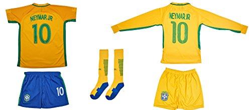 ATB Brasilien #10 Neymar Euro 16 Heim Kinder Trikot und Hose und langen Socken mit langen oder kurzen Ärmeln (Langarm, 176)