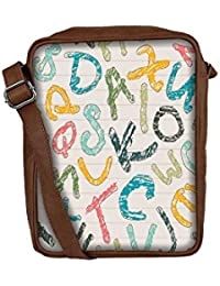 Snoogg Colors Of Alphabets Sling Bags Crossbody Backpack Chest Day Pack Travel Bag Book Bag For Men & Women