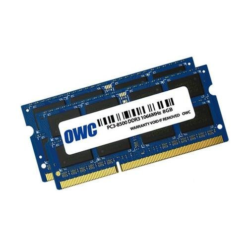 OWC 2 x 8 GB, PC8500, DDR3, 1066 MHz, DDR3, Notebook, 204-Pin SO-DIMM, 0 – 85 °C, 2 x 8 GB, Blau (Ddr3 Sodimm 8500 Memory)