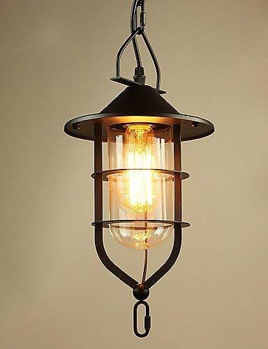 Cwill * 3 W Vintage/Landhaus LED Hängeleuchte aus Metall für Esszimmer/Arbeitszimmer/Büro/Jagd/Kronleuchter/Garage, 220-240 V Schwarz