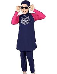 Musulmán Color Mezclado Trajes de Baño islámico Niña Modesto Encapuchado Burkini adjunta Hijab Verano Cubierta Completa