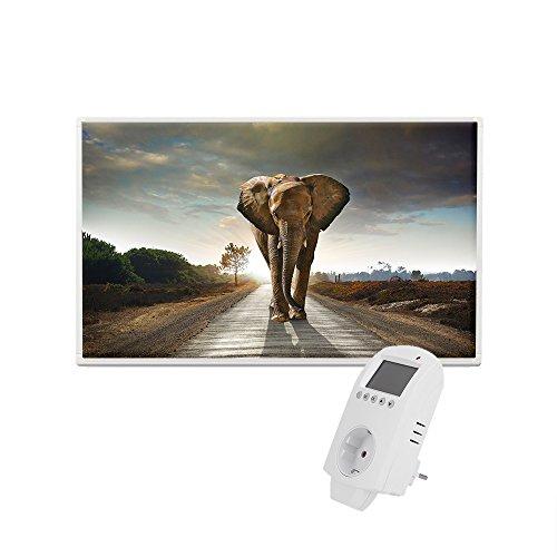 Eldstad Infrarotheizung 600W Thermostat Bildheizung Heizpaneel Infrarot Heizkörper Elektro Heizung mit Motiv Elefant