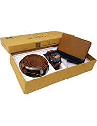 XPRA Men's Combo Pack Of Watch,Genuine Leather Belt & Wallet-WL-3CMB-4