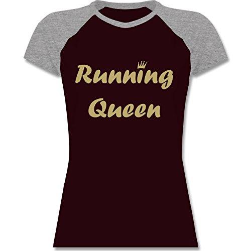 Laufsport - Running Queen - zweifarbiges Baseballshirt / Raglan T-Shirt für Damen Burgundrot/Grau meliert