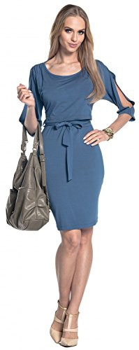Happy Mama. Damen 2in1 Umstands Still-Midikleid Lagendesign Schulterfreies. 432p Blau Jeans