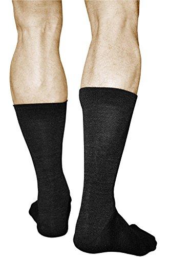 vitsocks Chaussettes Homme LAINE MÉRINOS de Qualité Supérieure (Lot de 2) Chaudes Hiver Automne, noir, 44-46