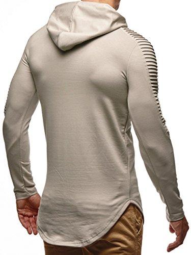 LEIF NELSON Herren Pullover Kapuzenpullover Hoodie Sweatjacke Longsleeve Sweatshirt Jacke Basic Rundhals Langarm oversize Shirt Hoody Sweater LN6369 Signalgrau