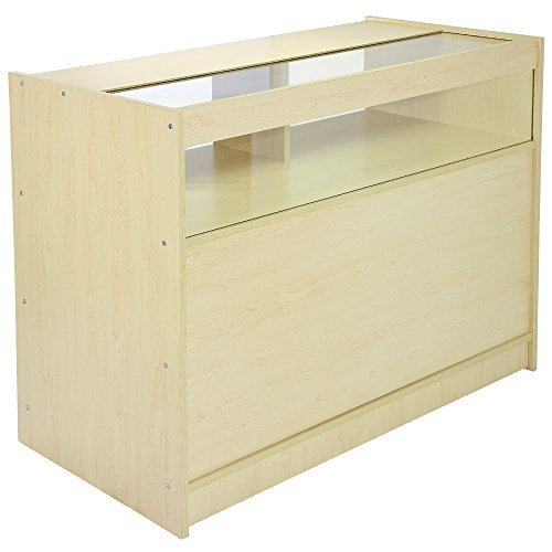 monstershop B1200 Shop Zähler Retail Display Glas Vitrine Schrank, Ahorn, 120 cm x 90 cm x 60 cm