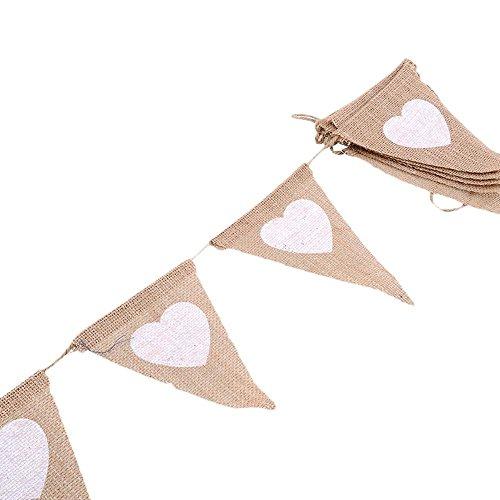 mit set, Herz Wimpel mit, Dreieck Flaggen, Sackleinen Stoff Bunting Banner für Geburtstag, Hochzeit, Outdoor, Indoor Aktivität, Garten, Party Dekoration Bunting ()