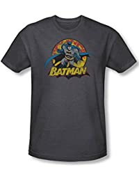 Justice League, The - Mens Batman Rough Distress T-Shirt In Charcoal