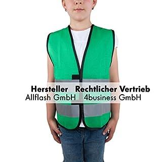 Allflash Sicherheitsweste grün Größe XS für Kinder von 3-6 Jahren
