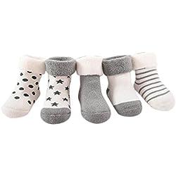 K-youth® Pack de 5 Pares Calcetines para Bebé Niños Niñas Antideslizante Calcetín 0-2 años (Gris, Edad: 9-18M)