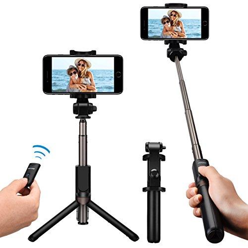 Galleria fotografica Mpow Bluetooth Selfie Stick, Monopiede Bluetooth con Cavalletto Pieghevole Treppiede e Telecomando, Estensibile 360° Rotazione Titolare per iPhone 8/8 Plus/7/7 Plus/Galaxy S8/S8 Plus/Google Pixel