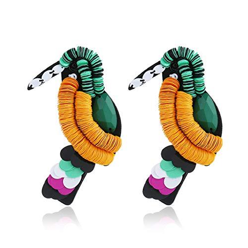 CADANIA Tier Papagei Acryl Pailletten Vogel Ohrringe große Anweisung Ohrringe Boho Schmuck -