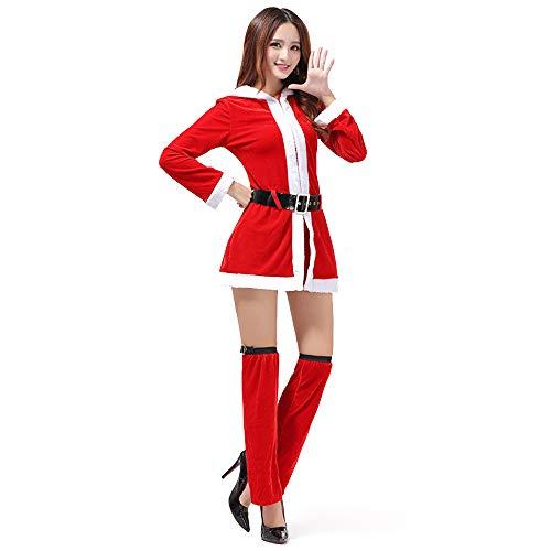 Wanlianer Weihnachtsmann-Kostüm 3 Stück für Frauen, Kleidung Frau Santa Helper Adult Weihnachtsfest Kostüm (Santas Helper Sexy Kostüm)