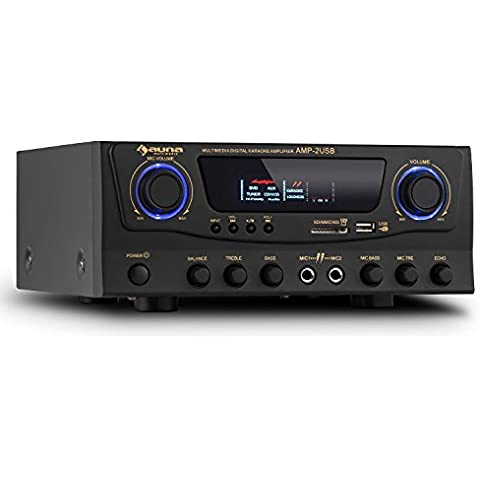 auna Amp-2 amplificatore Hi Fi (100 Watt a 4 Ohm, ingressi RCA, USB, SD) - nero