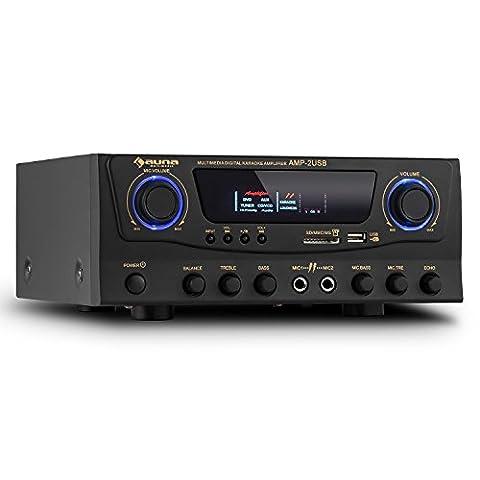auna Amp-2 • HiFi Karaoke-Verstärker • Sound-Verstärker • Musik-Verstärker • PA-Amplifier • kompakt • 100 Watt max. Leistung • MP3-fähiger USB-Port • SD-Kartenslot • 2 x AUX-In • 2 x 6,3mm-Klinke-Mikrofon-Eingang • 2-Band EQ • Echo-Effekt • schwarz