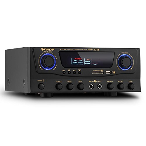 Auna amp-2 amplificatore hi fi (100 watt a 4 ohm, ingressi rca, usb, sd) - nero