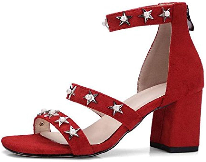 GLTER Mujeres Ankle Strap Bomba Suede De Encanto De Cinco Puntas Estrella De Cristal De Los Remaches Hebilla De...