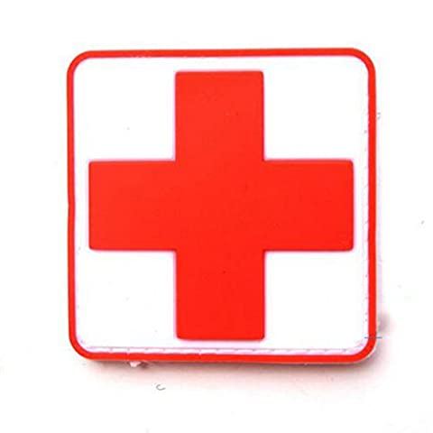 Medic Cross Red White PVC Airsoft Paintball Morale Patch