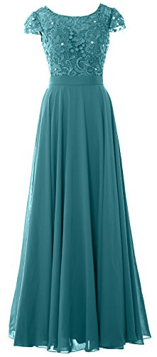 MACloth Women Cap Sleeve Mother of Bride Dress Vintage Lace Evening Formal Gown Oasis
