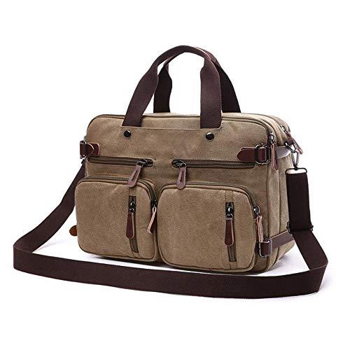 GXING Umhängetaschen für Männer und Frauen, Vintage 14-Zoll-Laptop-Aktentasche aus Leinen für den täglichen Gebrauch 38,5 cm (L) X28,5 cm (H) X 13 cm (B) (Farbe : Brown) (Kenneth Cole Aktentasche Braun)
