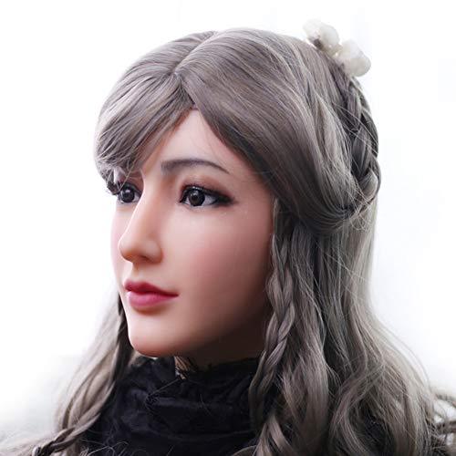 PINGJIA Realistische weibliche Maske Silikon handgemachte Crossdresser Transgender Halloween-Kostüme