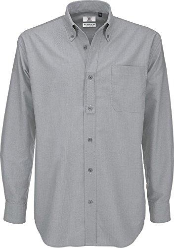 B & C Oxford Smart Lange Ärmel Herren Klassische ausgestattet Formale Shirt Erwachsene Workwear Gr. 5XL,  - Silver Moon (Shirt Ausgestattet Formale Klassische)
