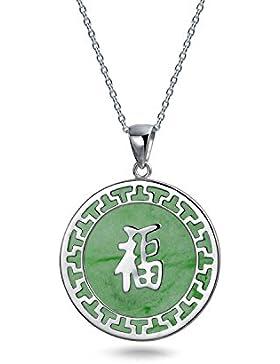 Bling Jewelry Grüner Jade Chinese Fortune 925 Sterling Silber Halskette Halskette 18 Zoll