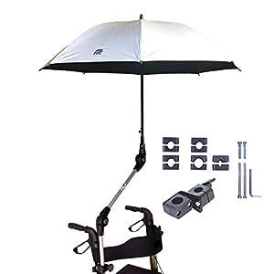 Orig. MPB® Rollatorschirm 99 SI (PASSEND FÜR 99% ALLER ROLLATOREN!), Regenschirm und Sonnenschirm nutzbar, silber, Schirmhalter mit 2 Verstellgelenken, Mikrofaser-Schirm, inkl. Schirmhülle