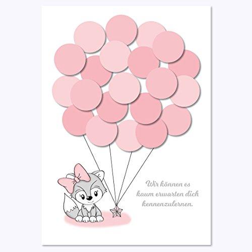 (Babyparty, Baby Shower, Geschenk, Gastgeschenk, Deko, Idee, Andenken, Glückwünsche, Fingerabdruck, Erinnerungsstück, Fuchs, mädchen, rosa)