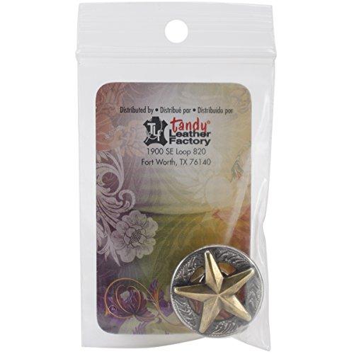 Tandy Leder Factory Concho Silber und Gold mit Schraubverschluss 1-inch3d Texas Star, andere, Mehrfarbig