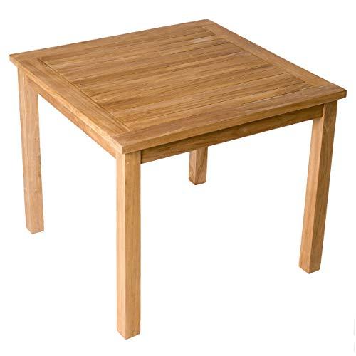 Divero Esstisch Gartentisch Balkontisch - Holztisch Teak für den Innen- und Außenbereich - rechteckig groß witterungsbeständig massiv behandelt - 90 x 90 cm