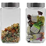 Soogo Glass Jar Set with Lid, 1 litres, 2-Pieces, Transparent