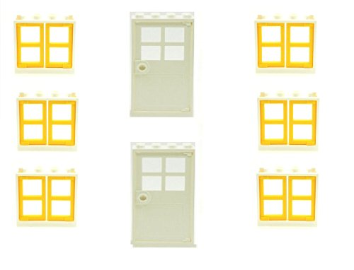 LEGO 6 White Window Frames with Yellow Panes and 2 White Doors (b ...