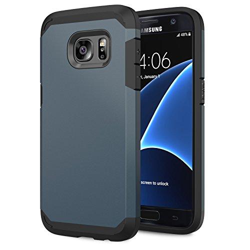 Moko galaxy s7 case - [serie armatura ibrido] [protezione dual layer] custodia angoli tecnologia a cuscino d'aria + paraurti per samsung galaxy s7 5.1 inch smartphone 2016 release, indaco