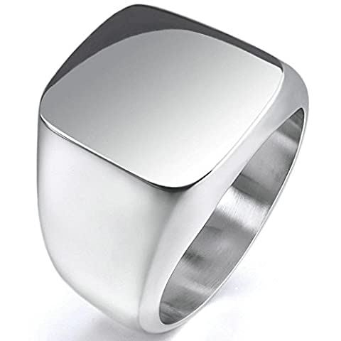 Epinki,Fashion Jewelry Men's Stainless Steel Rings Silver Signet Polished Biker Size N 1/2