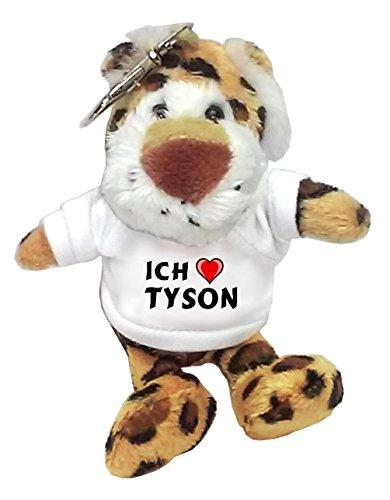 Preisvergleich Produktbild Plüsch Leopard Schlüsselhalter mit T-shirt mit Aufschrift Ich liebe Tyson (Vorname/Zuname/Spitzname)