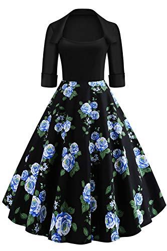 3/4 Ärmel Kleid (Axoe Damen Rockabilly Kleid Festlich 50er Jahre Retrokleid mit 3/4 Ärmel Blumenmuster Schwarz Gr.38)