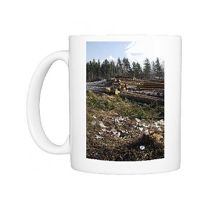 Photo Mug of Logging site - rubbish left by loggers - stacked