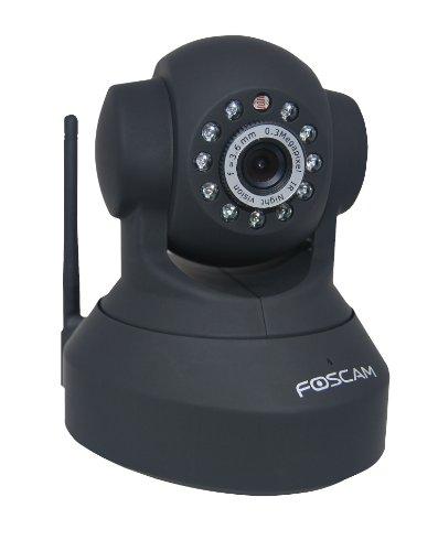 Foscam FI8918W IP Netzwerkkamera (640 x 480 Pixel, WiFi, 300 MBit/S, IR-LED, bis 8m Nachtmodus) für Mac/Win/Linux/Android/Apple iPhone schwarz (Cam Foscam Ip)