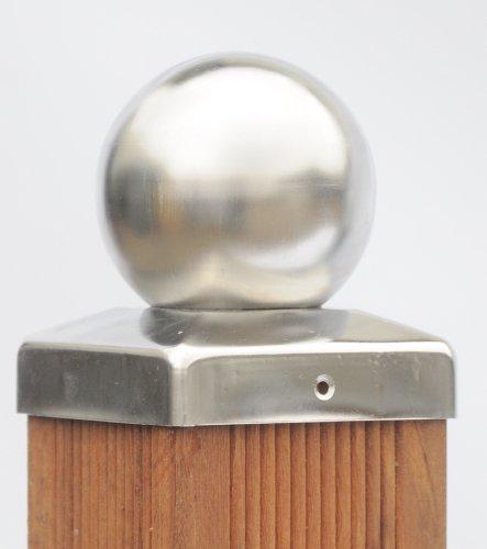 Pfostenkappe Edelstahl mit Kugel für Pfosten 7x7 cm, inkl. VA-Schrauben