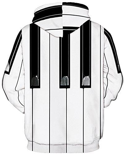 TDOLAH Herren 3D Druck Sweatshirts Weihnachten Pullover mit Aufdruck Herbst Hemd Kapuzenpullover Langarm Top Jumper Shirt Klavier