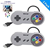 ARCHE 2er-Pack SNES Super Nintendo USB PC Classic Controller Joypad Gamestick für Windows PC Mac Linux Raspberry Pi 3 Stram Sega Genesis Higan Grau/Bunte